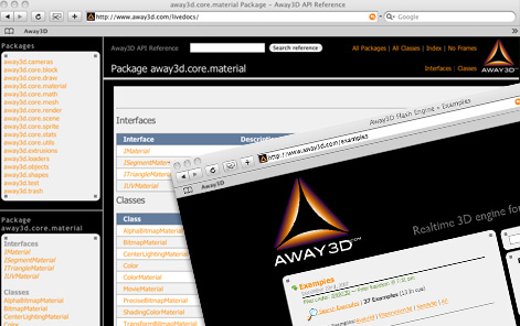 Away3D Livedocs, Examples and Wiki